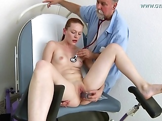 Young Ginger Girl With Virgin Body Comes To Old Gyno Doctor